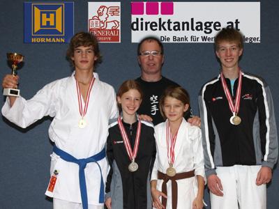 Jan Kaserer, Julia Reiter, Nina Vorderleitner, Alexander Jezdik mit Trainer Kurt Hofmann